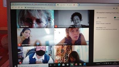 """Screenshot einer Videokonferenz der Teilnehmer am ErasmusPlus Programm """"Inclusion in secondary schoool"""""""